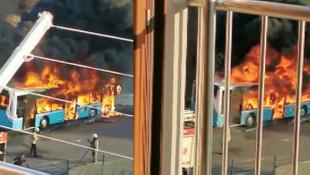 İstanbul'da özel halk otobüsü alev topuna döndü