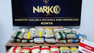 Konya'da uyuşturucu operasyonu! 29 kilo 580 gram esrar ele geçirildi