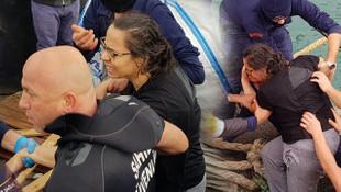 Denize düşen kadın böyle kurtarıldı