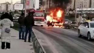 İstanbul'da korku dolu anlar! Lüks cip alev alev yandı