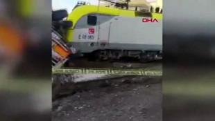 Yük treninin TIR'a çarptığı kaza kamerada