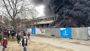 Kültür merkezi inşaatında korkutan yangın
