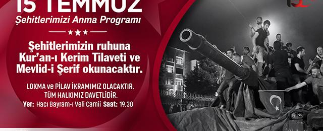 Ankara Büyükşehir Belediyesi 15 Temmuz'da mevlit okutacak