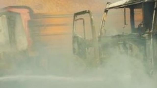 PKK şantiye yaktı, işçileri kaçırdı !