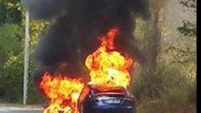 Tesla Model S alev alev yandı