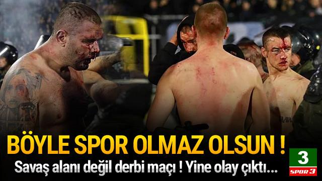 Partizan - Kızılyıldız maçı savaş alanına döndü