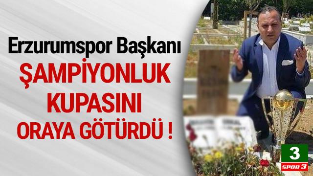 Erzurumspor Başkanı kupayı İbrahim Erkal'a götürdü