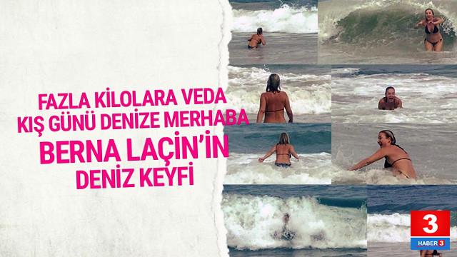 Berna Laçin kış günü deniz keyfi yaptı