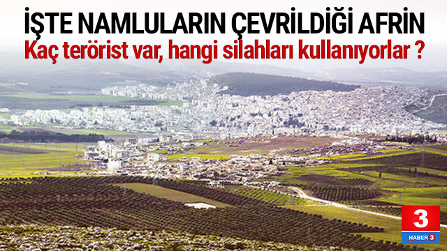 İşte TSK'nın hedefindeki Afrin ! Kaç terörist var ?