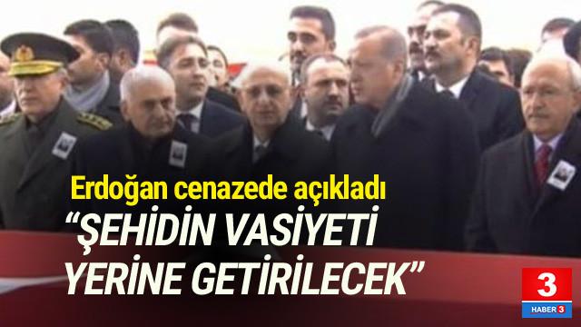 Erdoğan, Afrin şehidinin cenaze törenide konuştu
