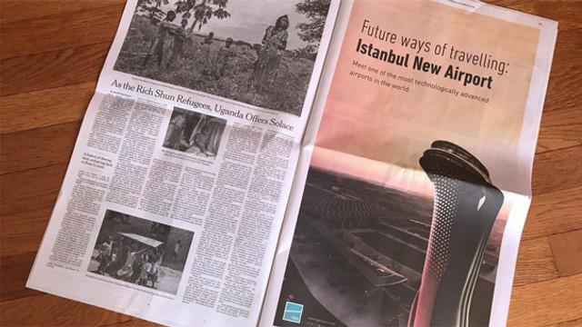 İstanbul Havalimanı için New York Times'ta tam sayfa ilan