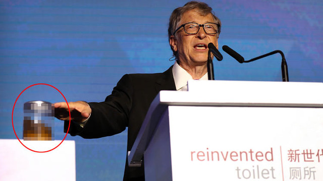 Bill Gates insan dışkısı dolu kavanozla sahneye çıktı