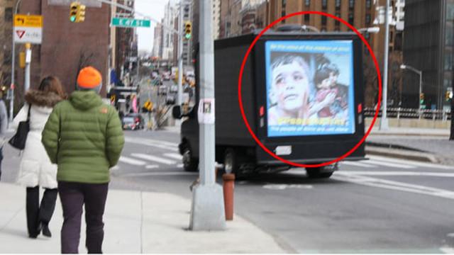 PKK'lılar bunu da yaptı ! New York sokaklarında Afrin yalanı