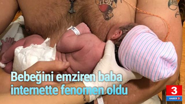 Bebeğini emziren baba internette fenomen oldu