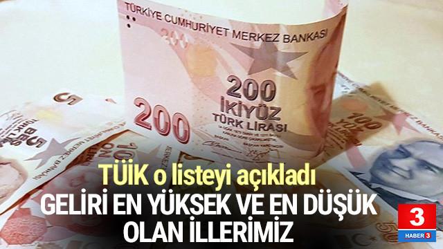 Türkiye'nin geliri en yüksek ve en düşük illeri belli oldu