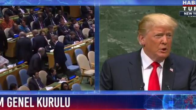 Trump konuşurken Erdoğan salonu mu terketti ?