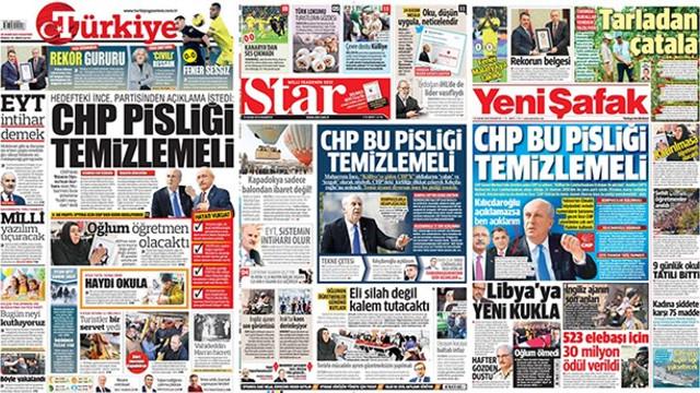 Hükümet medyasında ''ortak'' manşet!