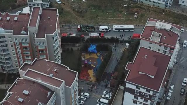 Helikopter enkazı havadan görüntülendi