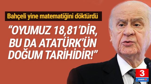 Bahçeli: ''Oyumuz 18,81'dir bu da Atatürk'ün doğum tarihidir''