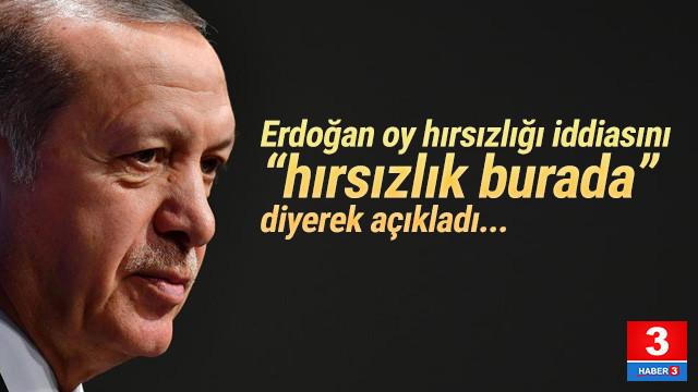 Erdoğan oy hırsızlığı iddiasını ''hırsızlık burada'' diyerek açıkladı