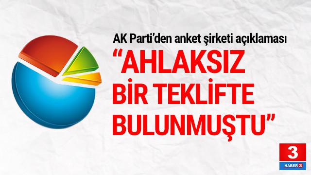 AK Parti'den anket şirketi açıklaması: ''Ahlaksız bir teklifte bulunmuştu''