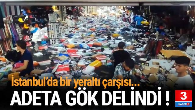 İstanbul'dan sağanak yağış manzaraları ! Yeraltı çarşısını su bastı