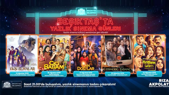 Beşiktaş'ta yazlık sinema günleri hız kesmeden devam ediyor