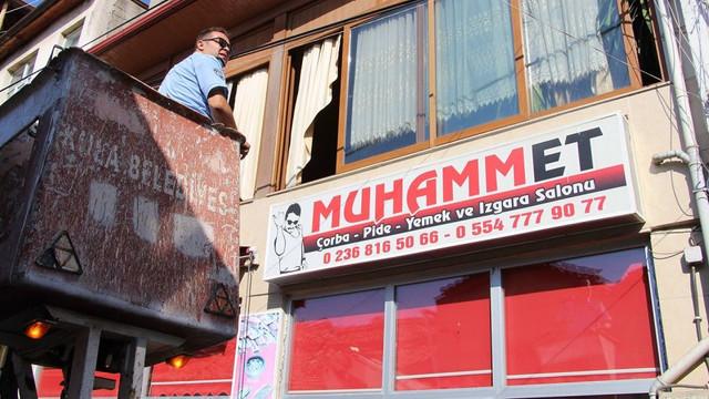 Tepki çeken ''Muhammet'' tabelası söküldü