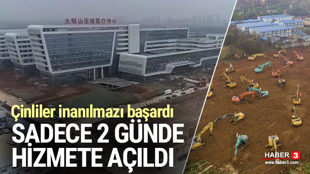 Çin'de coronovirüsü için inşa edilen hastane 2 günde bitti !