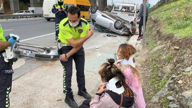 Ataşehir'de otomobil takla attı: Yaralılar var