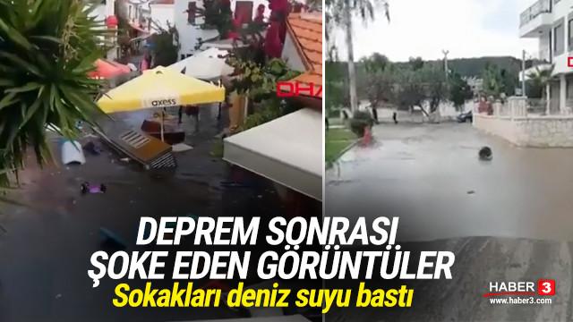 İzmir'de depremin ardından sokakları deniz suyu bastı