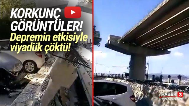 İzmir'deki depremde viyadük çöktü!
