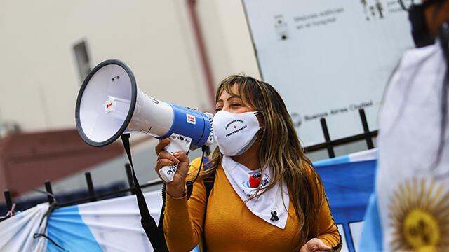 Arjantin'de hemşirelerden protesto