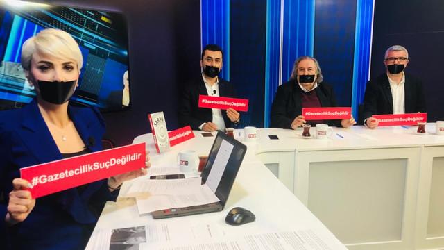 Canlı yayında protesto var: Gazetecilik Suç Değildir!