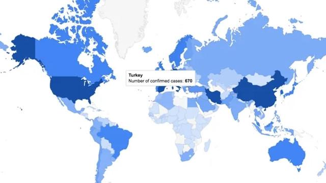 Google'dan koronavirüse özel harita!