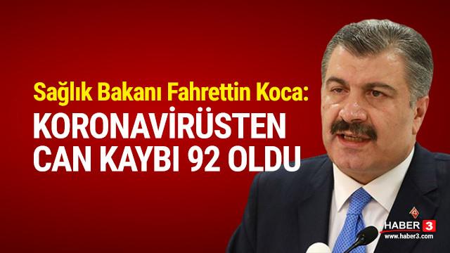 Türkiye'de koronavirüsten can kaybı 92'ye yükseldi !