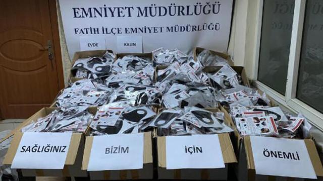 Fatih'te 11 bin adet sahte maske ele geçirildi