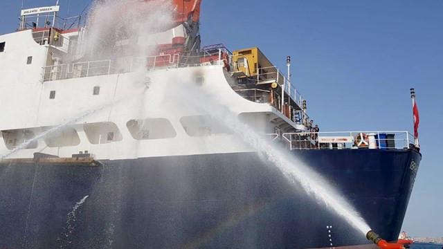 İstanbul Kartal'da korkutan gemi yangını