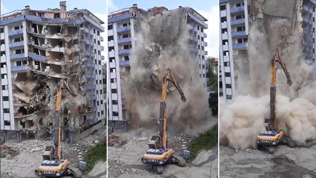 Rize'de yıkımı yapılan bina çöktü