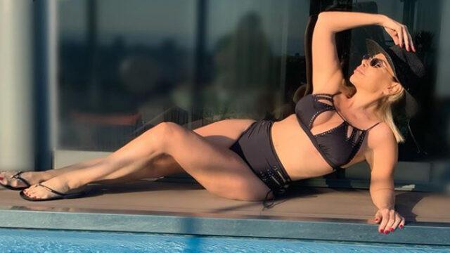 Linet'in havuz başındaki bikinili pozları olay oldu
