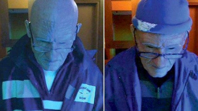 Protez yüz maskesi ile yaşlı kılığına girip 100 bin dolar çaldı!