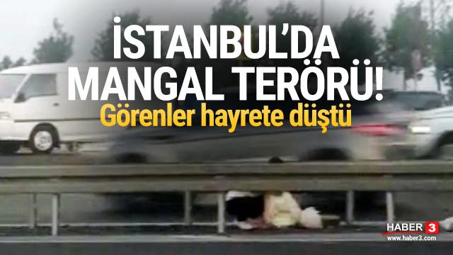 İstanbul'da sahil yolunda akılalmaz görüntü