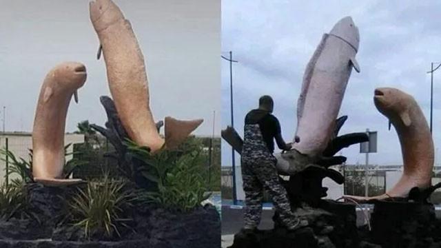 Müstehcen görünümlü iki balık heykeli tepki topladı