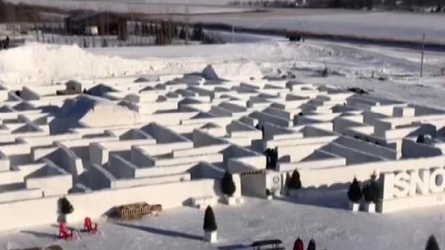 Kanada'daki dünyanın en büyük kar labirentine ziyaretçi akını!