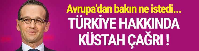 Alman bakandan küstah Türkiye çağrısı