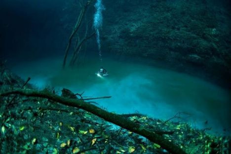 Su altında akan nehir