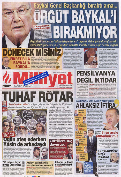 Gazetelerin Baykal manşetleri