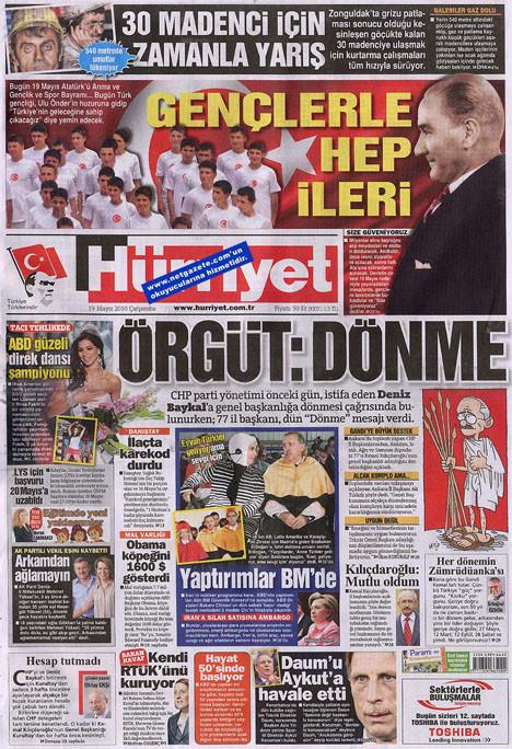 19 Mayısı üç gazete unuttu