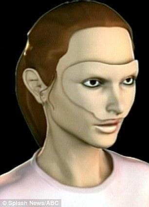 Yüzsüz kadına protez maske