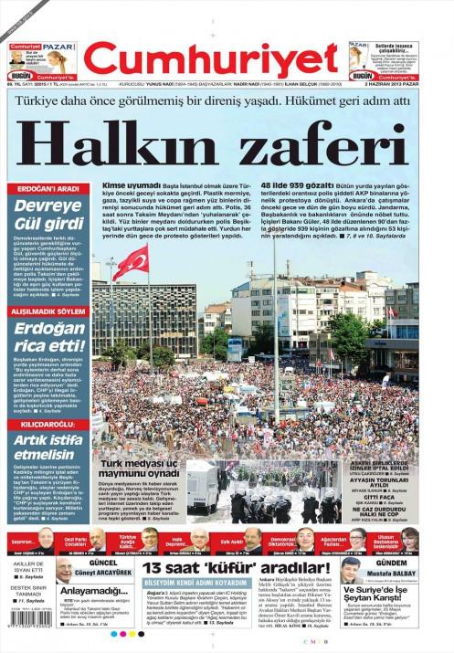 Taksim olayları gazete manşetlerinde